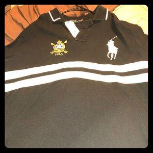 Black polo with white stripes